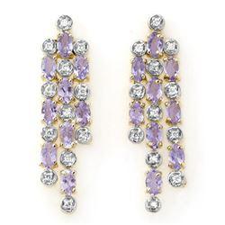 4.08 CTW Tanzanite & Diamond Earrings 14K Yellow Gold - REF-118K2W - 13829