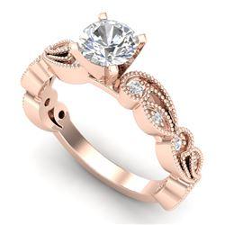 1.01 CTW VS/SI Diamond Solitaire Art Deco Ring 18K Rose Gold - REF-218F2N - 37317