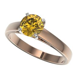 1.23 CTW Certified Intense Yellow SI Diamond Solitaire Ring 10K Rose Gold - REF-191R3K - 36542