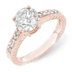 1.05 CTW Certified VS/SI Diamond Solitaire Ring 14K Rose Gold - REF-180K9W - 14074