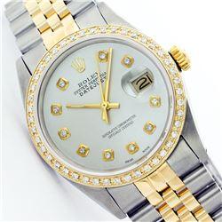 Rolex Ladies Two Tone 14K Gold/SS, Diamond Dial & Diamond Bezel, Sapphire Crystal - REF-434T5K
