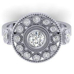 0.85 CTW Certified VS/SI Diamond Art Deco 3 Stone Ring 14K White Gold - REF-118H2M - 30471