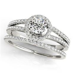0.85 CTW Certified VS/SI Diamond 2Pc Wedding Set Solitaire Halo 14K White Gold - REF-127A3V - 31073