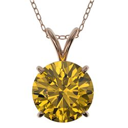 2 CTW Certified Intense Yellow SI Diamond Solitaire Necklace 10K Rose Gold - REF-492F2N - 33239