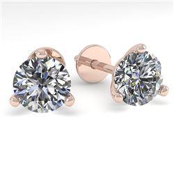 1.0 CTW Certified VS/SI Diamond Stud Earrings Martini 18K Rose Gold - REF-150R5K - 32198