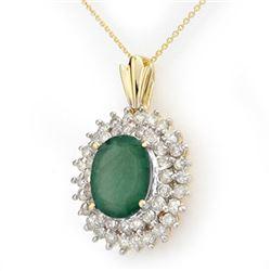 10.11 CTW Emerald & Diamond Pendant 14K Yellow Gold - REF-230H9M - 14206