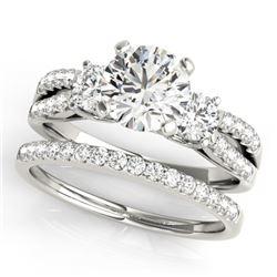 1.46 CTW Certified VS/SI Diamond 3 Stone 2Pc Wedding Set 14K White Gold - REF-224V4Y - 32039