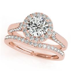 1.54 CTW Certified VS/SI Diamond 2Pc Wedding Set Solitaire Halo 14K Rose Gold - REF-227W8H - 30829