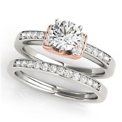 0.76 CTW Certified VS/SI Diamond Solitaire 2Pc Set 14K White & Rose Gold - REF-134A5V - 31586