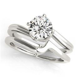 0.50 CTW Certified VS/SI Diamond Bypass Solitaire 2Pc Wedding Set 14K White Gold - REF-94K9W - 31766