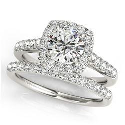 1.70 CTW Certified VS/SI Diamond 2Pc Wedding Set Solitaire Halo 14K White Gold - REF-235Y3X - 30717