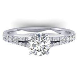 1.36 CTW Certified VS/SI Diamond Solitaire Art Deco Ring 14K White Gold - REF-353Y3X - 30375