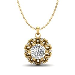1.20 CTW VS/SI Diamond Art Deco Micro Pave Stud Necklace 18K Yellow Gold - REF-220K2W - 37000