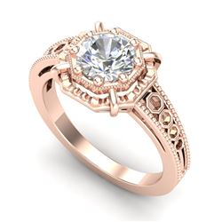1 CTW VS/SI Diamond Solitaire Art Deco Ring 18K Rose Gold - REF-318M3F - 36873