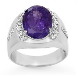 7.33 CTW Tanzanite & Diamond Men's Ring 10K White Gold - REF-251H8M - 13418