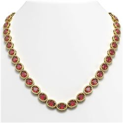49.46 CTW Tourmaline & Diamond Necklace Yellow Gold 10K Yellow Gold - REF-763K6W - 40573