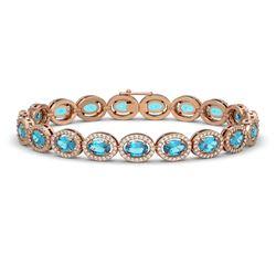 14.82 CTW Swiss Topaz & Diamond Bracelet Rose Gold 10K Rose Gold - REF-230V4Y - 40485