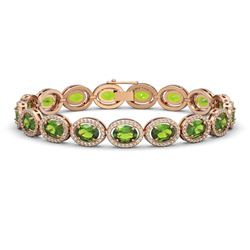 21.13 CTW Peridot & Diamond Bracelet Rose Gold 10K Rose Gold - REF-286Y5X - 40629