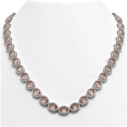 45.98 CTW Morganite & Diamond Necklace White Gold 10K White Gold - REF-850R9K - 40565