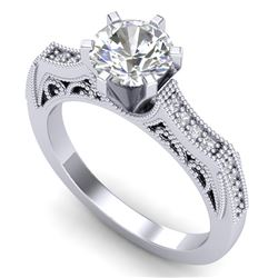 1.25 CTW VS/SI Diamond Solitaire Art Deco Ring 18K White Gold - REF-400W2H - 37073