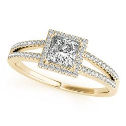 1.10 CTW Certified VS/SI Princess Diamond Solitaire Halo Ring 18K Yellow Gold - REF-200W4H - 27152