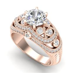 2 CTW VS/SI Diamond Solitaire Art Deco Ring 18K Rose Gold - REF-581Y8X - 37113