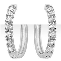 0.40 CTW Certified VS/SI Diamond Earrings 18K White Gold - REF-69M8F - 13860