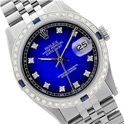 Rolex Men's Stainless Steel, QuickSet, Diam Dial & Diam/Sapphire Bezel - REF-521M2F
