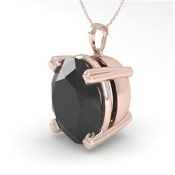 9.0 CTW Oval Black Diamond Designer Necklace 14K Rose Gold - REF-191W8H - 38436