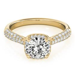 1.50 CTW Certified VS/SI Diamond Solitaire Halo Ring 18K Yellow Gold - REF-389N5A - 26169