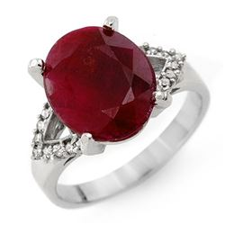 6.50 CTW Ruby & Diamond Ring 14K White Gold - REF-67A6V - 12759