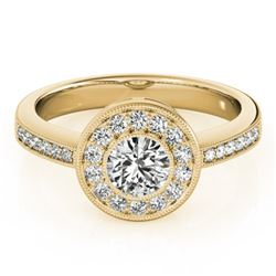 0.80 CTW Certified VS/SI Diamond Solitaire Halo Ring 18K Yellow Gold - REF-130V4Y - 26903