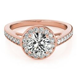 1.45 CTW Certified VS/SI Diamond Solitaire Halo Ring 18K Rose Gold - REF-378X9R - 26567
