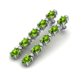 10.36 CTW Peridot & VS/SI Certified Diamond Earrings gold 10K White Gold - REF-65M8F - 29401