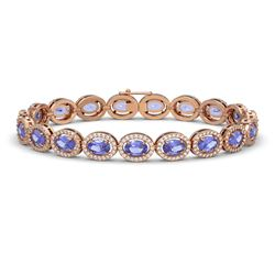 14.25 CTW Tanzanite & Diamond Bracelet Rose Gold 10K Rose Gold - REF-273W5H - 40461