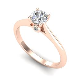 0.56 CTW VS/SI Diamond Solitaire Art Deco Ring 18K Rose Gold - REF-106X7R - 37281