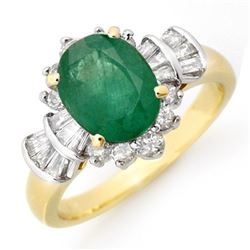 2.01 CTW Emerald & Diamond Ring 14K Yellow Gold - REF-80H2M - 13324