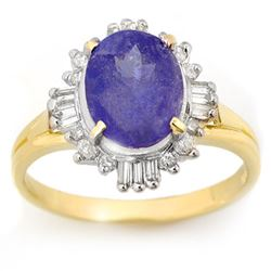 3.03 CTW Tanzanite & Diamond Ring 10K Yellow Gold - REF-57F6N - 14461