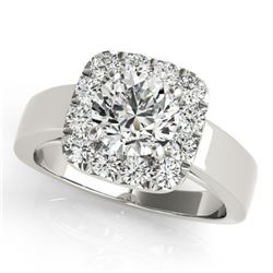 1.30 CTW Certified VS/SI Diamond Solitaire Halo Ring 18K White Gold - REF-258M7F - 26895