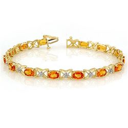 10.15 CTW Orange Sapphire & Diamond Bracelet 14K Yellow Gold - REF-86K9W - 11671