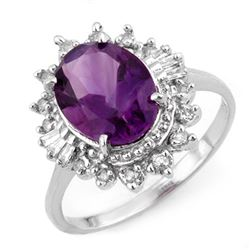 3.45 CTW Amethyst & Diamond Ring 18K White Gold - REF-60K5W - 10759