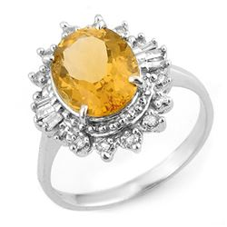 3.45 CTW Citrine & Diamond Ring 18K White Gold - REF-60X2R - 11095