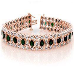 14.50 CTW Emerald & Diamond Bracelet 14K Rose Gold - REF-411V8Y - 11516