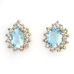 3.75 CTW Aquamarine & Diamond Earrings 14K Yellow Gold - REF-77A8V - 10224