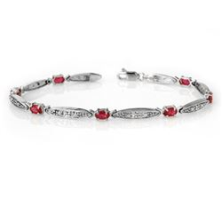 2.75 CTW Ruby & Diamond Bracelet 10K White Gold - REF-38V2Y - 14321