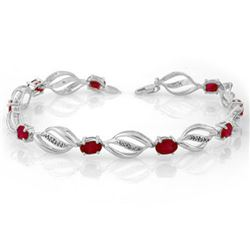 5.10 CTW Ruby & Diamond Bracelet 14K White Gold - REF-89V3Y - 10662