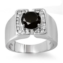 2.33 CTW VS Certified Black & White Diamond Men's Ring 10K White Gold - REF-90V7Y - 11817