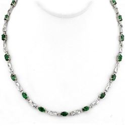 7.02 CTW Emerald & Diamond Necklace 10K White Gold - REF-78A2V - 11324