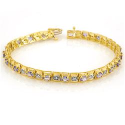 3.14 CTW Tanzanite & Diamond Bracelet 10K Yellow Gold - REF-109R3K - 10398