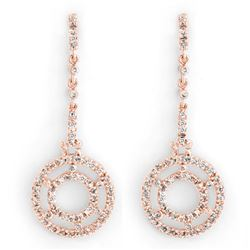 1.0 CTW Certified VS/SI Diamond Earrings 14K Rose Gold - REF-109A3V - 10303